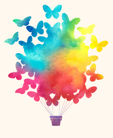 hot: Watercolor vintage butterfly hot air balloon.Celebration festive background with balloons.Perfect for invitations,posters and cards Illustration