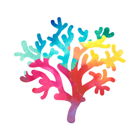 polyp: hand drawn decorative watercolor coral