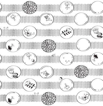 summer time:  seamless pattern with summer doodles. Summer time