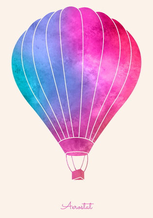 hot: Watercolor vintage hot air balloon.Celebration festive background with balloons.Perfect for invitations,posters and cards
