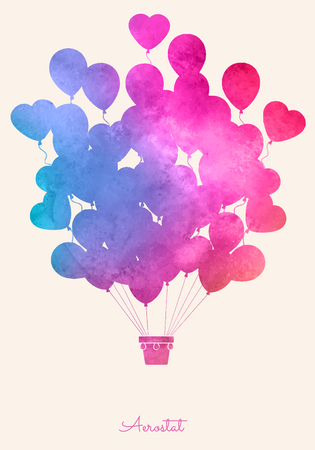 Watercolor vintage hot air balloon.Celebration festive background with balloons.Perfect for invitations,posters and cards