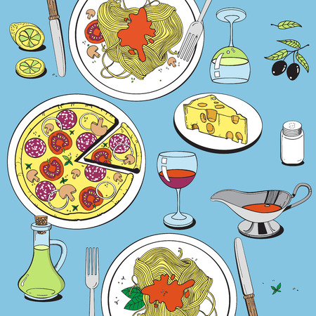 melted cheese: Hand drawn objects on italian food theme: pizza, pasta, tomato, olive oil, olives, cheese, lemon, sauce. Ethnic cuisine concept. Italian cuisine hand drawn objects. Illustration