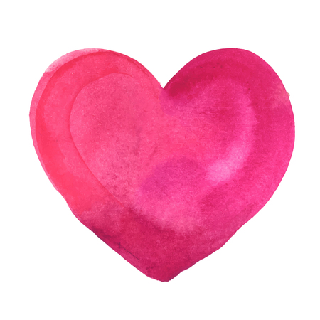 red shape: watercolor painted pink heart