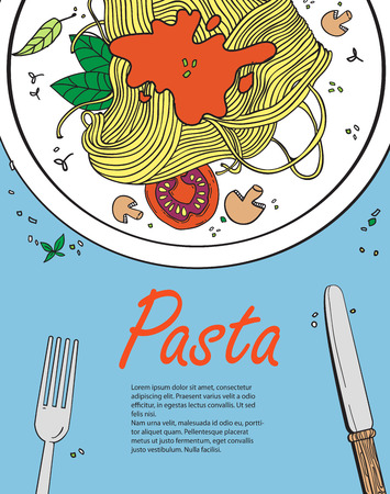 banquet table: Vector cooking banner template with pasta.Design a menu.Menu template for restaurant and cafe.Italian cuisine hand drawn objects.Vector food illustration for kitchen and cafe