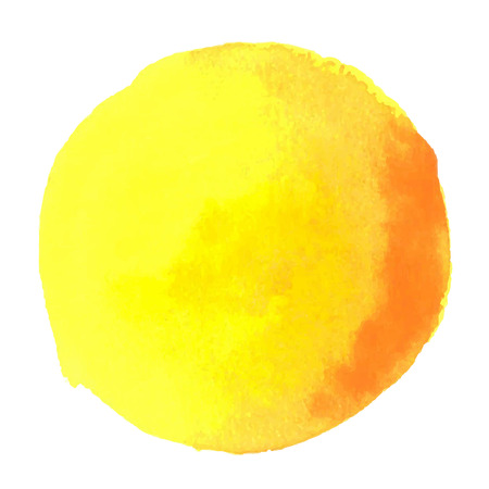 colorful yellow-red watercolor stain with aquarelle paint blotch Vettoriali
