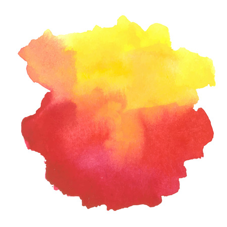 colorful red-yellow watercolor stain with aquarelle paint blotch Illustration
