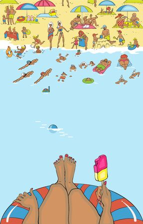 sunbathe: Summer beach. People relax, sunbathe, swim. Waves lapping on the sand. Template poster.Tanned young woman swimming in the warm sea and eating ice cream