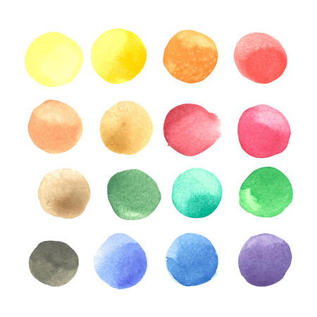 colorful watercolor blots isolated on white background