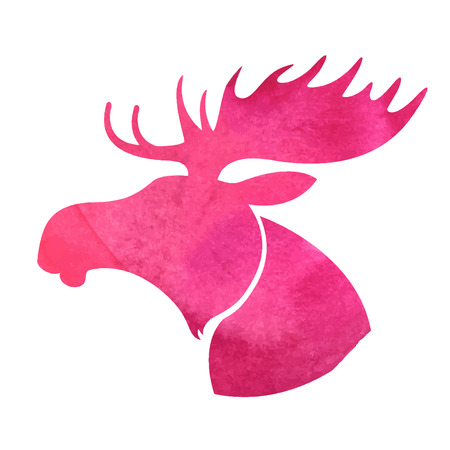 wild venison: Moose head. watercolor silhouette Illustration