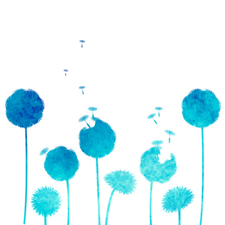 watercolor dandelion background  イラスト・ベクター素材