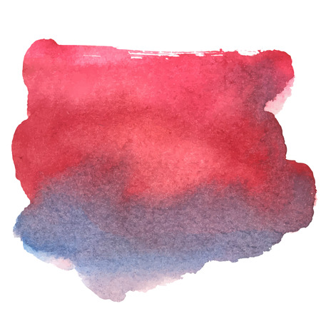 blotch: colorful red-blue watercolor stain with aquarelle paint blotch Illustration
