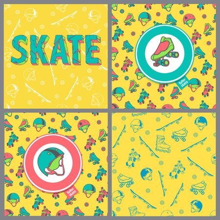 skate board: Set of four pictures: Skate board typography, seamless pattern, roller derby icons. Seamless pattern with roller skates, quads, helmets, wheels, skateboards