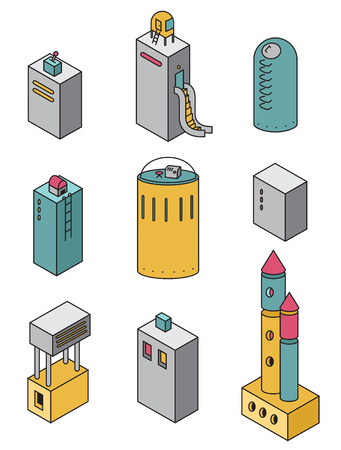 refuge: Houses icons set.Vector illustration of a isometric buildings