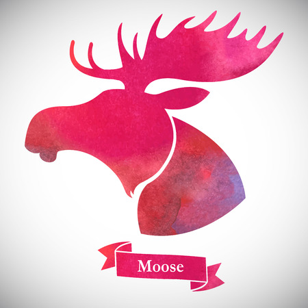 wild venison: Moose head.Watercolor silhouette