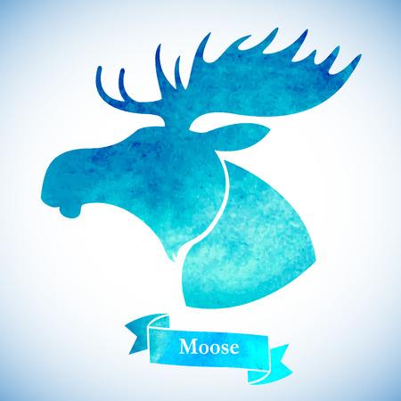 moose hunting: Moose head.Watercolor silhouette