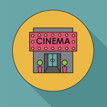 window case: Cinema building. Flat vector illustration Cinema house. Icon Illustration