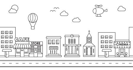 Nahtlose Muster der Gebäude. Hintergrund für Spiel. Cafe, Kino, Geschäft, Kirche, Mehrfamilienhaus, Ferienhaus, Schule, Hall, Fabrik