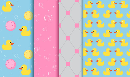 yellow duckling: Set of seamless patterns on the subject of bathing , shower , bathtub. Yellow Duckling, lather, bubbles, sponge