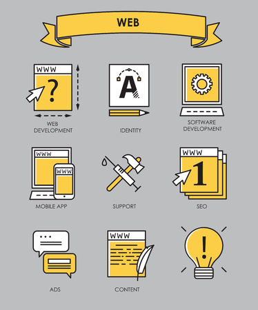 webmaster: Vector set of flat line creative process, design process, web product development icons