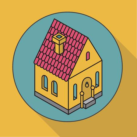 staging: %u0421ottage. Flat illustration house. Isometric icon Illustration