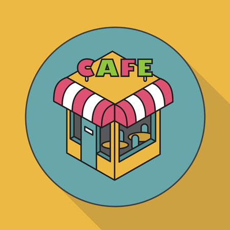 window case: Cafe. Isometric illustration. Icon