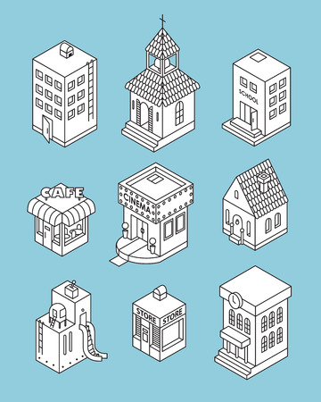3d bungalow: Set of Isometric Buildings. Black and white illustration with cafe, shop, factory, cinema, apartment house, cottage, church, school, city hall. Icons
