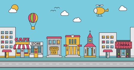 Seamless des bâtiments. Contexte pour le jeu. Café, cinéma, magasin, église, immeuble, maison, école, Hall, usine