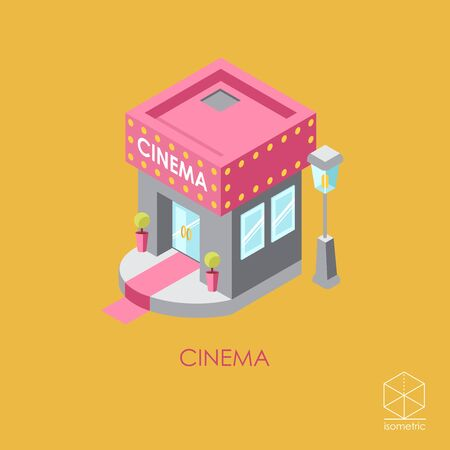 holiday movies: Isometric color icon Cinema