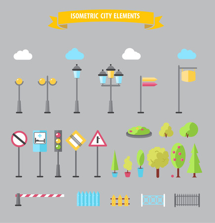 outdoor advertising construction: Flat city and outdoor elements. Street urban elements icon set Illustration