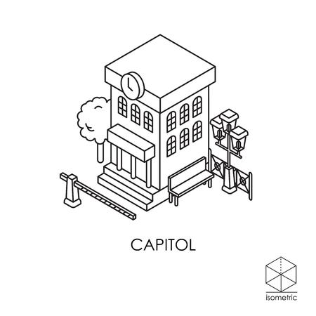 fence post: Isometric icon city hall Illustration