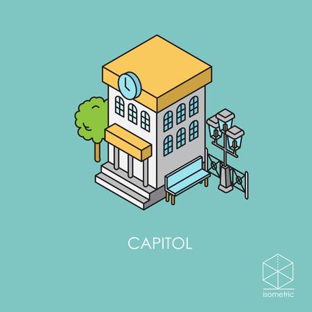 Isometric icon city hall Illustration