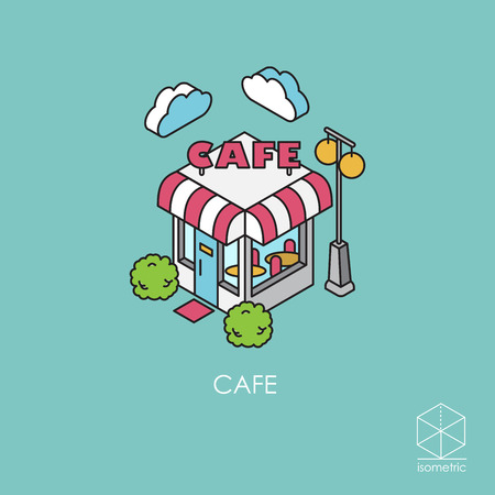 Isometric icon cafe Stock Vector - 53256150