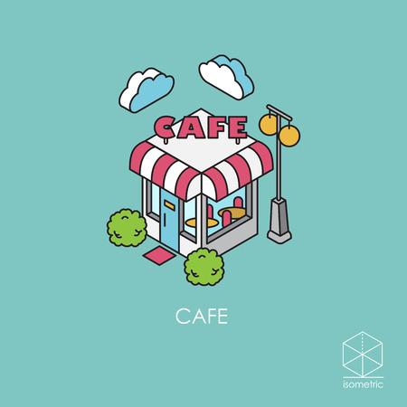 Isometrische Symbol Café Lizenzfreie Bilder - 53256150
