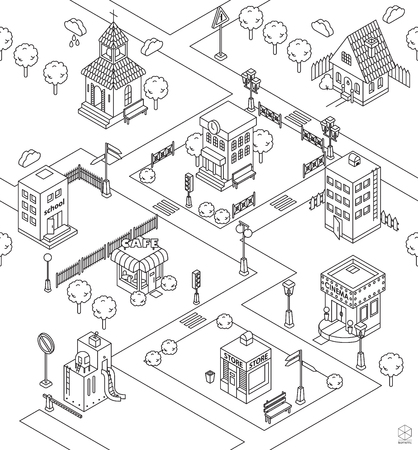 Seamless pattern with Isometric city. Black and white illustration with cinema,  cottage, church, school, shop, cafe, town hall, factory,apartment house. Icons