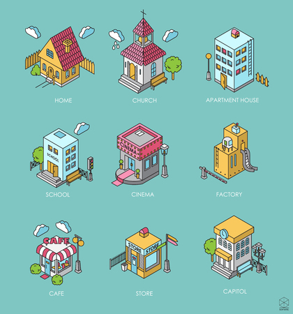 3d bungalow: Set of Isometric Buildings. Black and white illustration with cinema,  cottage, church, school, shop, cafe, town hall, factory,apartment house. Icons Illustration