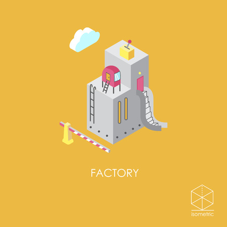 ladder  fence: Isometric color icon factory Illustration