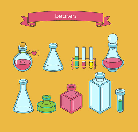 a substance vial: Set of  apothecary and medical beakers, laboratory flasks Illustration