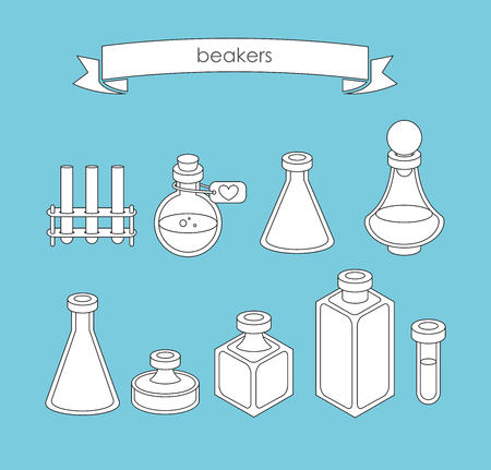 apothecary: Set of  apothecary and medical beakers, laboratory flasks Illustration