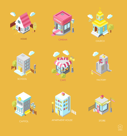 Set of Isometric Buildings. Black and white vector illustration with cinema,  cottage, church, school, shop, cafe, town hall, factory,apartment house. Icons