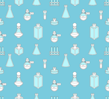 apothecary: Seamless pattern with apothecary and medical beakers, laboratory flasks
