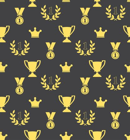 medal: Seamless pattern of the prize cups, laurel wreaths, medals, crowns on a blue background Illustration