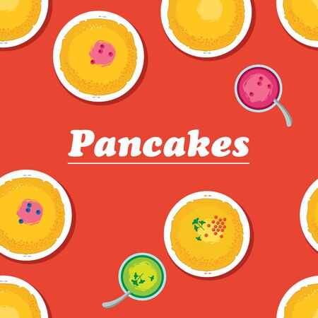 cooking utensils: Pancakes. Russian cuisine. Template for menu with cooking utensils and food:  jam, pancakes