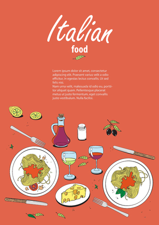 onion rings: Vector cooking banner template with hand drawn objects on italian food theme: pizza, pasta, tomato, olive oil, olives, cheese, lemon, sauce. Ethnic cuisine concept. Italian cuisine hand drawn objects.Vector food illustration for kitchen and cafe