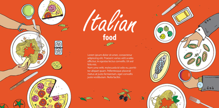 melted cheese: Vector cooking banner template with hand drawn objects on italian food theme: pizza, pasta, tomato, olive oil, olives, cheese, lemon, sauce. Ethnic cuisine concept. Italian cuisine hand drawn objects