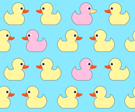 duck toy: Seamless vector pattern with cute bright yellow ducks. Duck toy baby shower illustration. For cards, invitations,  backgrounds and scrapbooks, wallpapers
