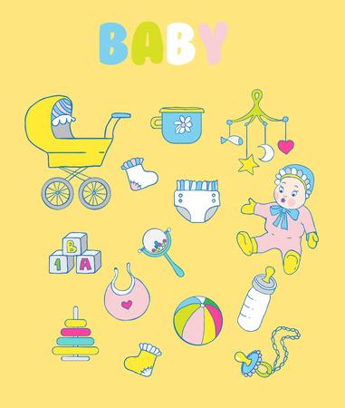 comforter: Set of baby items: rattle, doll, blocks, bottle, pacifier, pyramid, ball, diaper, bib, socks, baby potty Illustration