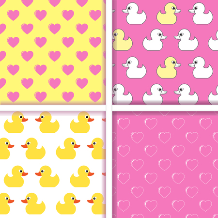 duckling: Set of seamless patterns. Seamless pattern of small duckling and sseamless pattern with hearts