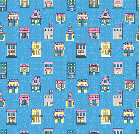 refuge: Seamless pattern with buildings. Cafe, cinema, store, church, apartment house,cottage,school, Hall, factory