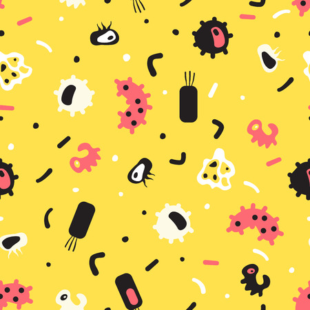 bacillus: Seamless pattern of bacteria, virus, cells, germs, epidemic bacillus