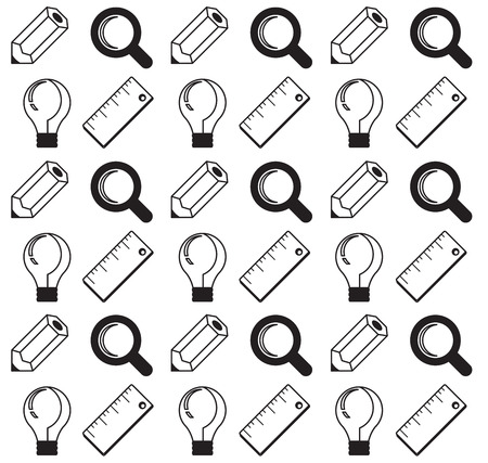 undertaking: Vector business concept, infographic design elements in flat retro style.Seamless pattern of pencil, magnifying glass, ruler, lamp